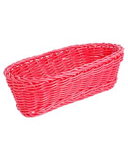 cestas sÍmil mimbre alargadas 23x9x8 cm fucsia pp (12 unid.)
