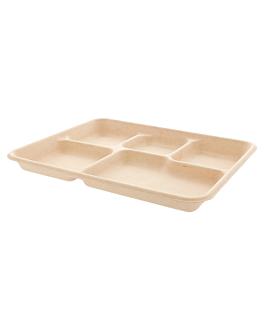 trays 5 compart. 'bionic' 26,5x21,5x2 cm natural bagasse (500 unit)