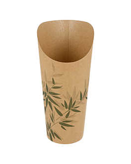 open cups chips 'feel green' 22 oz - 660 ml 200 + 25pe gsm Ø8,5x18 cm brown cardboard (50 unit)