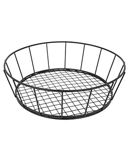 round basket Ø 24,1x7 cm black steel (12 unit)