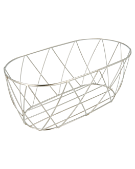 tuscan style basket 25,5x12,7x10,2 cm silver stainless steel (12 unit)