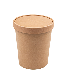 containers + lids 960 ml 340 + 18 pe gsm Ø11,7/9,2x13,5 cm natural kraft (250 unit)