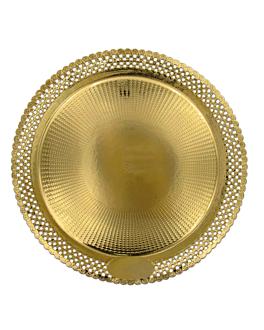 assiettes dentelÉes 'erik' 1200 g/m2 + 300 g/m2 pp Ø 40 cm dore carton (100 unitÉ)