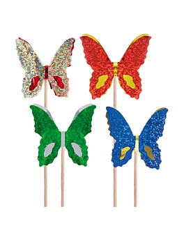 "ice cream decorations ""metallized butterflies"" 15 (h) cm assorted wood (100 unit)"
