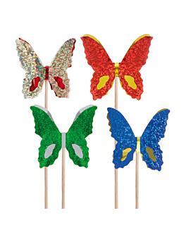 """dÉcorations pour glaces """"papillons metalisÉs"""" 15 (h) cm assorti bois (100 unitÉ)"""