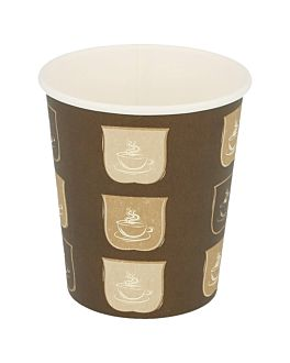 single wall hot drink cups 180 ml 260 + 18 pe gsm Ø7,2/5,3x7,8 cm brown cardboard (1000 unit)