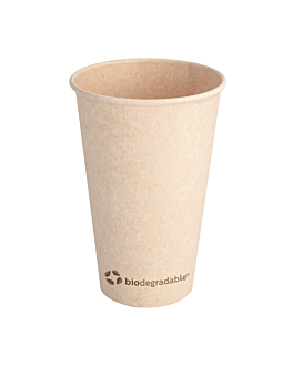 single wall hot drink cups 'biodegradable' 480 ml 300 + 30 pla gsm Ø8,9x13,5 cm natural bagasse cellulose + pla (1000 unit)