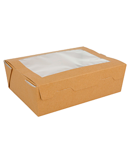 salad boxes with window - 1 l 300 gsm 12x17x5,5 cm brown cardboard (25 unit)