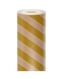 papel regalo 50 m rayas 60 g/m2 70 cm oro kraft verjurado (1 unid.)