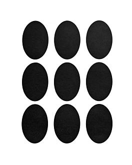 2 feuilles (18 u.) Étiquettes ovales  noir vinyl (12 unitÉ)