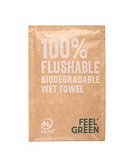 flushable wipes 'feel green' 50 gsm 6,8x10 cm white cellulose (1200 unit)