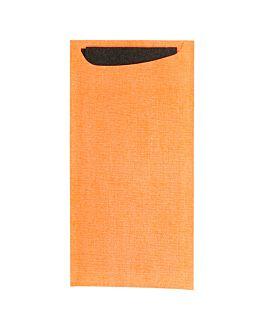 buste portaposate + tovagliolo airlaid nero 33x40 cm 'just in time' 90 + 10pe g/m2 11,2x22,5 cm arancio cellulosa (250 unitÀ)