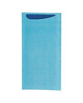 buste portaposate + tovagliolo airlaid blu 33x40 cm 'just in time' 90 + 10pe g/m2 11,2x22,5 cm turchese cellulosa (250 unitÀ)