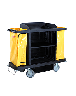 housekeeping trolley, without doors 153,6x55,4x125,2 cm black pp (1 unit)