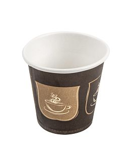 single wall hot drink cups 'espresso' 70 ml 230 + 18 pe gsm Ø5/3,5x4,9 cm brown cardboard (1000 unit)