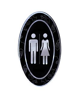 """placa autoadesivas """"unisex"""" 12,5x20,5 cm preto acrÍlico (1 unidade)"""