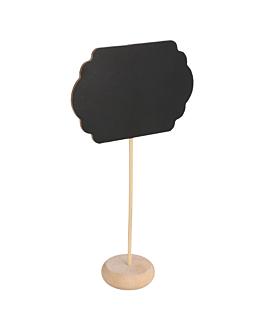 3 u. mini pizarras forma nube + pedestal 9x6x10 cm negro madera (1 unid.)