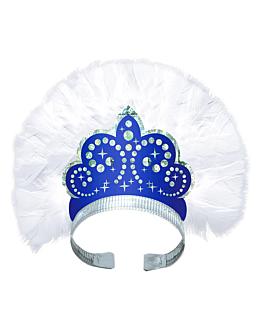 tiaras hologrÁficas de lujo  azul cartoncillo (12 unid.)