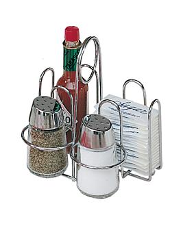 rack 4 elementos de condimentos 14,5x12x14,5 cm plateado hierro (1 unid.)