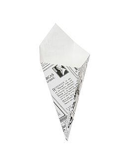 cucuruchos fritas 'thepack times' 100 g 230 g/m2 12,8x21,7 cm blanco cartÓn ondulado nano-micro (1600 unid.)