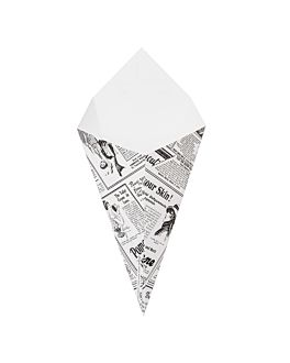 cucuruchos fritas 'thepack times' 250 g 230 g/m2 15,7x26,8 cm blanco cartÓn ondulado nano-micro (1200 unid.)