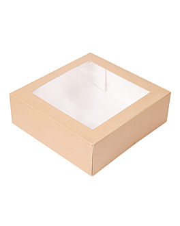 cake boxes with window 'thepack' 240 gsm + opp 23x23x7,5 cm natural nano-micro corrugated cardboard (200 unit)