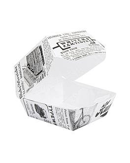 mini conchas hamburguesa 'times' 250 g/m2 5,3x5,7x5 cm blanco cartoncillo (500 unid.)