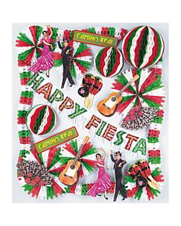 """kit de decoration """"happy fiesta"""" 65x49 cm assorti carton (1 unitÉ)"""