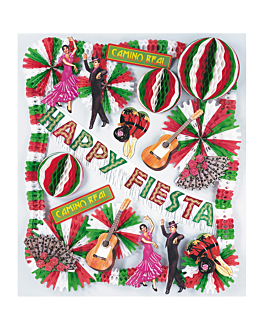 "kit de decoration ""happy fiesta"" 65x49 cm assorted cardboard (1 unit)"