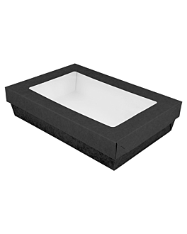 small boxes+lids w/window 1300 ml 290 + 18 pe gsm 21x14x5 cm black cardboard (200 unit)