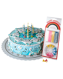 24 u. bougies anniversaire + 12 supports 8 cm assorti cire (1 unitÉ)