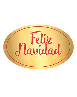 "1000 u. etiqueta ""feliz navidad"" 5,5x3,5 cm dorado adhesivo (1 unid.)"