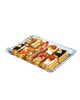 double face traiteur trays 1100 gsm 32x42 cm silver/gold cardboard (100 unit)