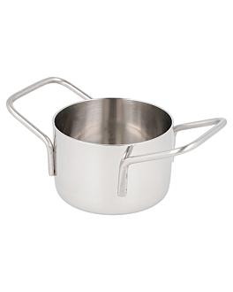 mini pots Ø 8x4,5 cm silver stainless steel (6 unit)