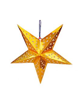 estrellas colgantes Ø 60 cm oro papel (10 unid.)