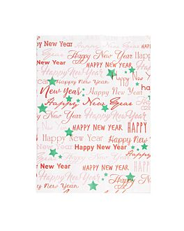flat bags 'happy new year' 60 gsm 26+8x35 cm white cellulose (250 unit)