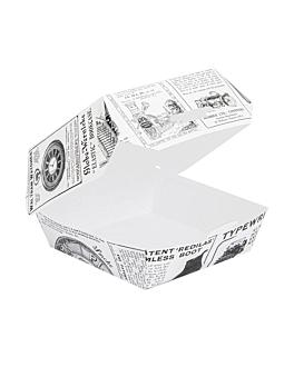 mini hamburger boxen 'times' 250 g/m2 7,3x7,7x5 cm weiss feinkarton (500 einheit)