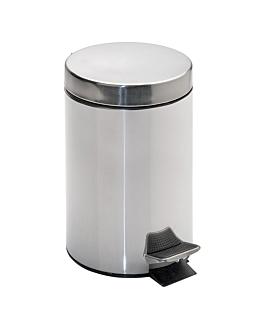 poubelle À pedale avec rÉceptacle intÉrieur 20 l Ø 29,5x44 cm argente inox (1 unitÉ)