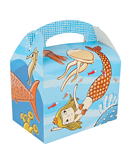 "party boxes ""bottom of the sea"" 320 g/m2 17x16x10 cm four coloured cardboard (300 unit)"
