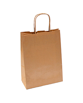 sos bags with handles 80 gsm 20+10x29 cm natural kraft (250 unit)