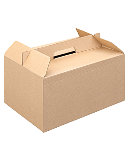 cases for take away meals 'thepack' 330 gsm 28x20x15 cm natural microchannel corrugated cardboard (100 unit)