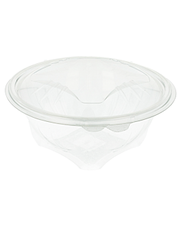ensaladeras con tapas bisagra 1 l Ø 16,1x10,7 cm transparente rpet (400 unid.)