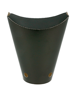 vasos fritas con cierre 12 oz - 360 ml 220 + 18 pe g/m2 6,7x12,5 cm negro cartoncillo (100 unid.)