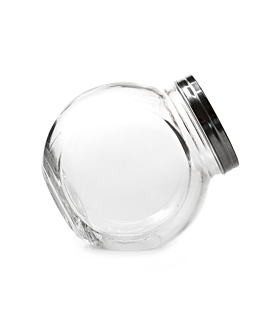 sloping storage jar 4430 ml 22,5x15x22,5 cm clear glass (6 unit)