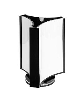 porta menÚs giratorio 3 caras 8x12 cm transparente ps (1 unid.)