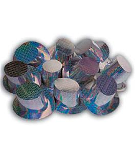 top hats 28,5x15,5 cm silver cardboard (12 unit)