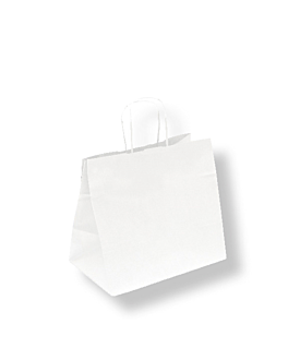 sos bags with handles 80 gsm 26+17x24 cm white cellulose (250 unit)