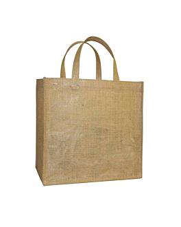 beutel ohne dekoration mit griffen 260 g/m2 33+24x34,5 cm natur jute (10 einheit)