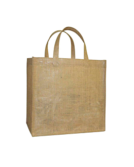 bag with handles without decoration 260 gsm 33+24x34,5 cm natural jute (10 unit)