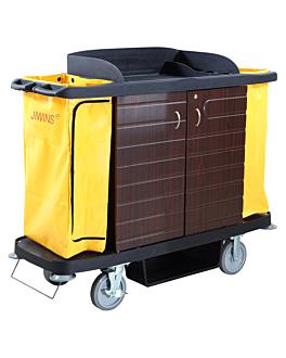 housekeeping trolley, with doors 153,6x55,4x125,2 cm black pp (1 unit)